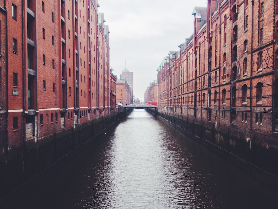 A typical canal in Hamburg Speicherstadt (UNESCO World Heritage Site)