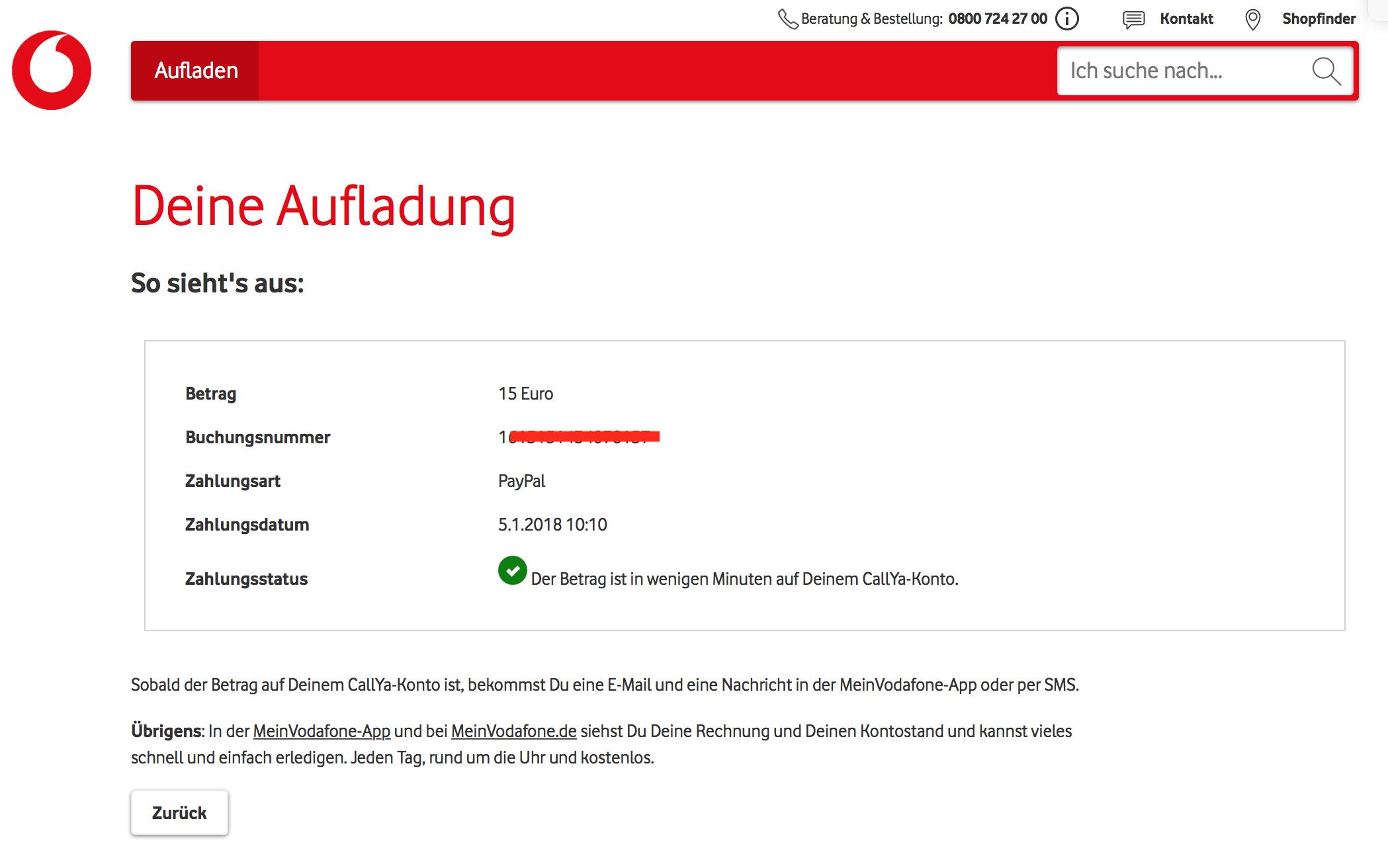 Vodafone callya credit