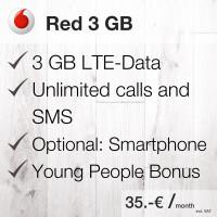 Vodafone Red 3 GB LTE Plan Flat
